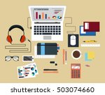 digitally generated desk with... | Shutterstock .eps vector #503074660