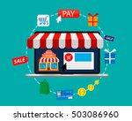 online shopping. e commerce pay ... | Shutterstock .eps vector #503086960