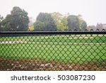 rain on an empty sports field....   Shutterstock . vector #503087230