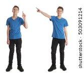 cute teenager boy in blue t... | Shutterstock . vector #503091214