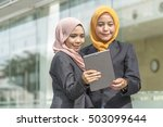business woman looking at... | Shutterstock . vector #503099644