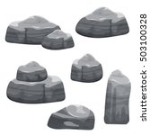 cartoon gray stones set ...