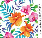 seamless exotic pattern with... | Shutterstock .eps vector #503105413