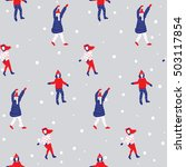 winter seamless pattern with... | Shutterstock .eps vector #503117854