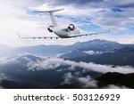 airplane flying near high... | Shutterstock . vector #503126929