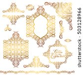 set of floral golden eastern...   Shutterstock .eps vector #503128966