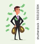 rich businessman character hold ... | Shutterstock .eps vector #503131504