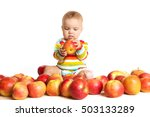 happy baby with apple isolated... | Shutterstock . vector #503133289