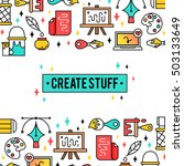 art tools and materials for... | Shutterstock .eps vector #503133649