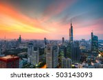 nanjing city zifeng sunset | Shutterstock . vector #503143093