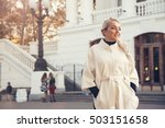 young blond woman wearing white ... | Shutterstock . vector #503151658