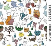 seamless halloween pattern with ... | Shutterstock .eps vector #503153866