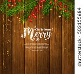 christmas card with garland... | Shutterstock .eps vector #503155684