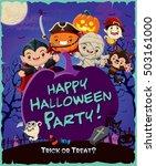 vintage halloween poster design ... | Shutterstock .eps vector #503161000