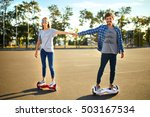 young man and woman riding on... | Shutterstock . vector #503167534