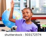 afro american schoolgirl... | Shutterstock . vector #503172574