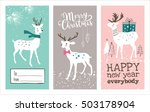 set of christmas cards with... | Shutterstock .eps vector #503178904