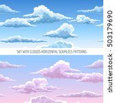 vector blue sky with clouds... | Shutterstock .eps vector #503179690