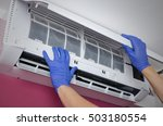 air conditioner cleaning. man... | Shutterstock . vector #503180554