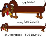 long cheerful brown dachshund... | Shutterstock .eps vector #503182480
