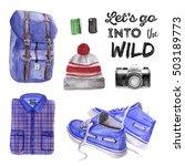 let's go into the wild. men... | Shutterstock . vector #503189773