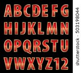 vector red shiny alphabet with... | Shutterstock .eps vector #503198044