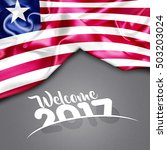 welcome 2017 liberia flag on...   Shutterstock . vector #503203024