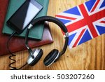 headphones and flag on a wooden ... | Shutterstock . vector #503207260