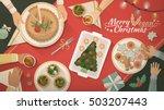 people having christmas dinner... | Shutterstock .eps vector #503207443