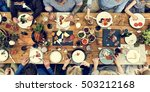 group of people dining concept | Shutterstock . vector #503212168