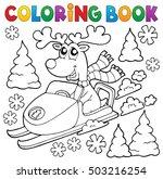 coloring book reindeer in... | Shutterstock .eps vector #503216254