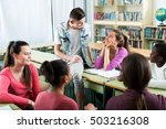 happy young students of... | Shutterstock . vector #503216308