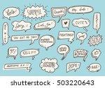 set of cute speech bubble with... | Shutterstock .eps vector #503220643