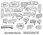 set of cute speech bubble with... | Shutterstock .eps vector #503220670