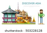 travel asia with asia landmarks ... | Shutterstock .eps vector #503228128