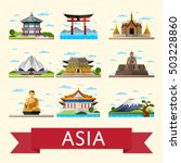 travel asia with asia landmarks ... | Shutterstock .eps vector #503228860