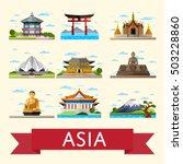travel asia with asia landmarks ...   Shutterstock .eps vector #503228860