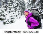 happy young woman hiking in... | Shutterstock . vector #503229838