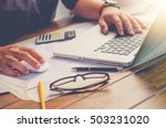 businessman is working on a... | Shutterstock . vector #503231020