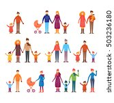 people with children in winter... | Shutterstock .eps vector #503236180