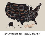 vintage map of united states of ...
