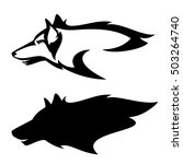 wolf head profile design   side ... | Shutterstock . vector #503264740