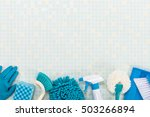 a lot of cleaning tool tile...   Shutterstock . vector #503266894