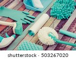 a lot of cleaning tool... | Shutterstock . vector #503267020