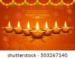 illustration of burning diya on ... | Shutterstock .eps vector #503267140