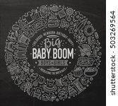 chalk board vector hand drawn... | Shutterstock .eps vector #503269564