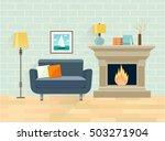 interior living room. fireplace ... | Shutterstock .eps vector #503271904