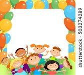 children are jumping ob summer... | Shutterstock .eps vector #503274289