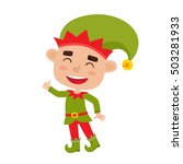 cute little christmas boy elf... | Shutterstock .eps vector #503281933