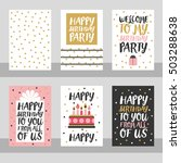 set of 6 cute creative cards... | Shutterstock .eps vector #503288638